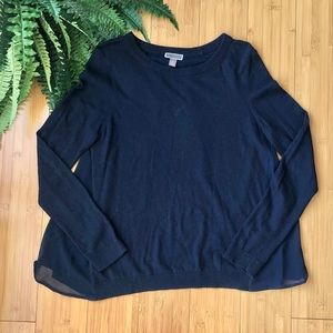 CHELSEA28 | Chiffon Back Navy Sweater